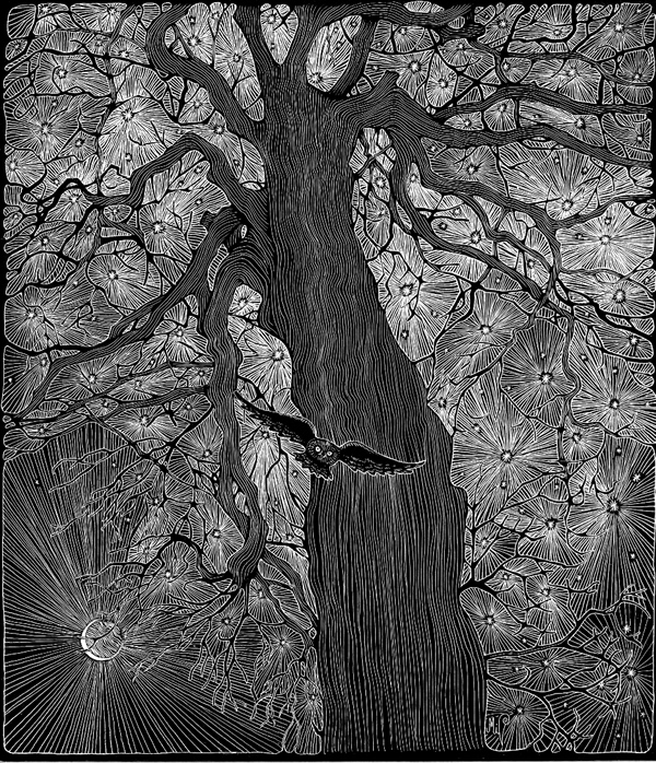 "Michelle Dick's scratch art image titled - ""Star Tree"""