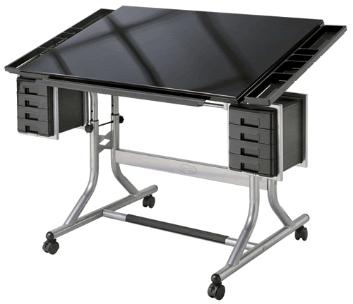 New @ Rex the Alvin Craftsmaster II Glass Top Drawing Table