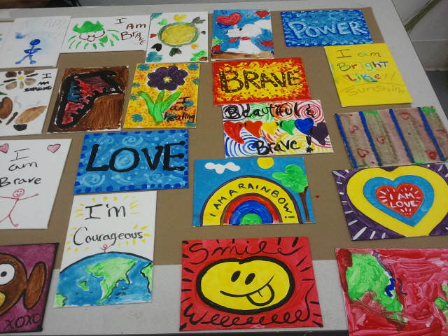 Some great paintings going to children affected with cancer. Hope they bring some cheer!