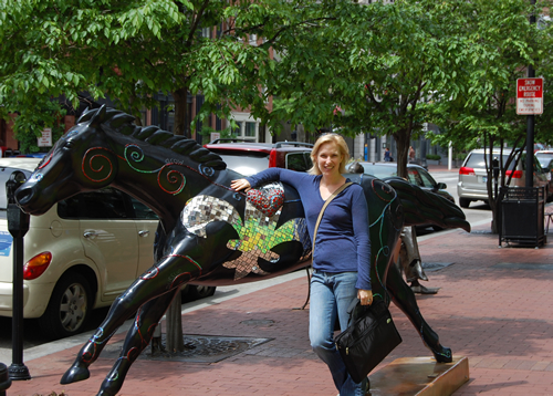 Kat models with the cool Louisville horses!