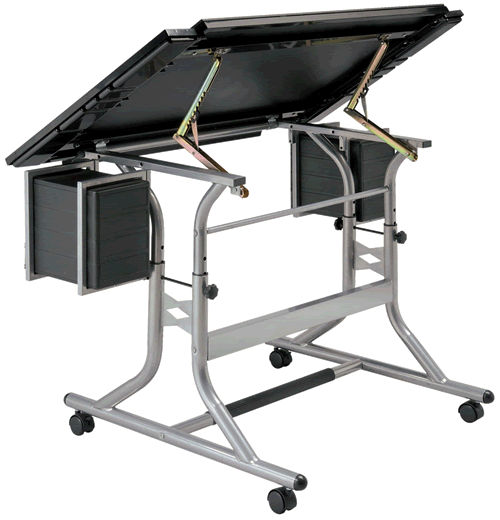 Alvin Craftsmaster II Glass Top Deluxe Drawing Table Back View