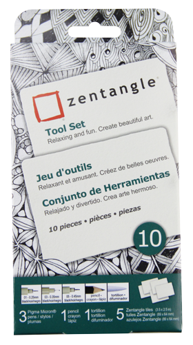 Pigma Zentangle ATC White Tile Set of 10