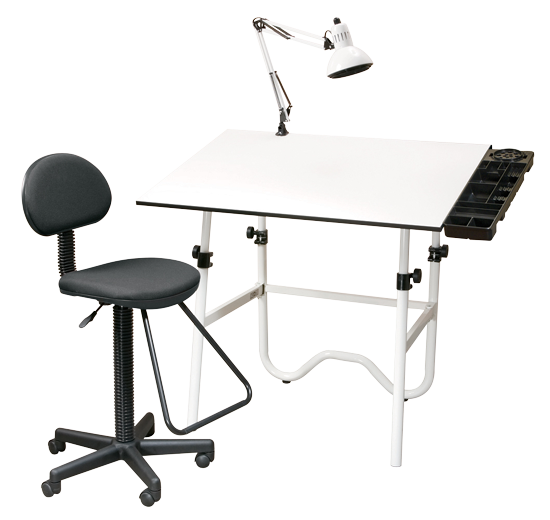 Alvin Creative Center Drafting Combo - Color White Base with White Top - Size 30 x 42