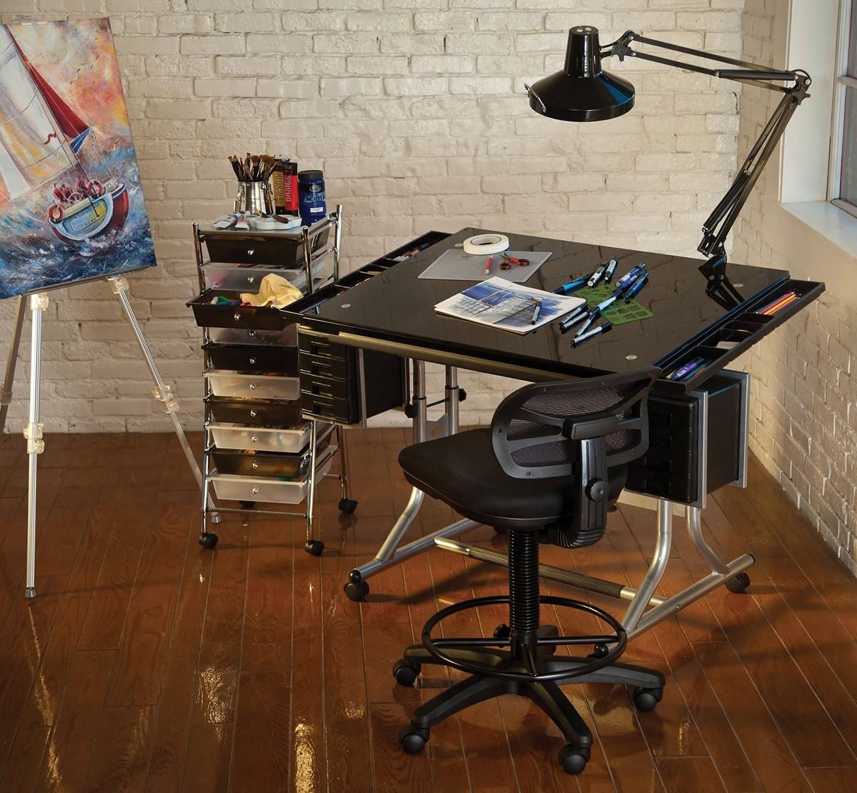 Alvin Craftsmaster Ii Glass Top Deluxe Art Drawing Table Rex Art Supplies