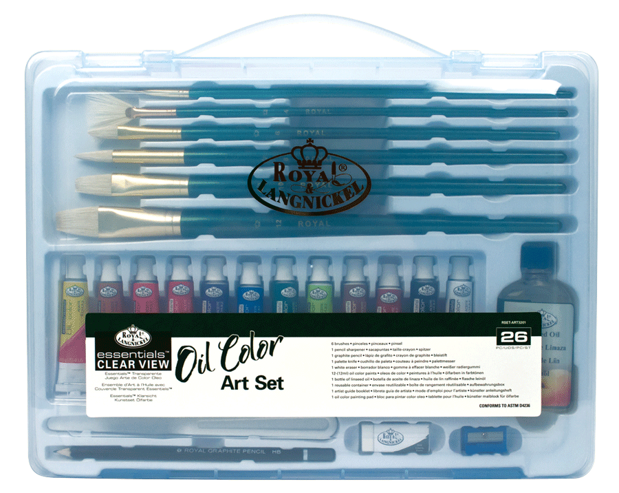 Royal & Langnickel Oil Painting Set in a Large Clear View Art Case