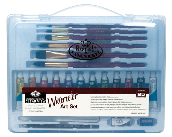 Royal & Langnickel Watercolor Painting Set in a Large Clear View Art Case
