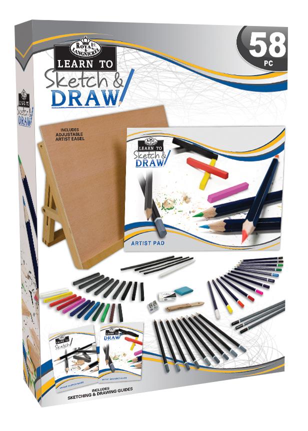 Royal & Langnickel Learn To Sketch Draw Set 58Pc | Rex Art