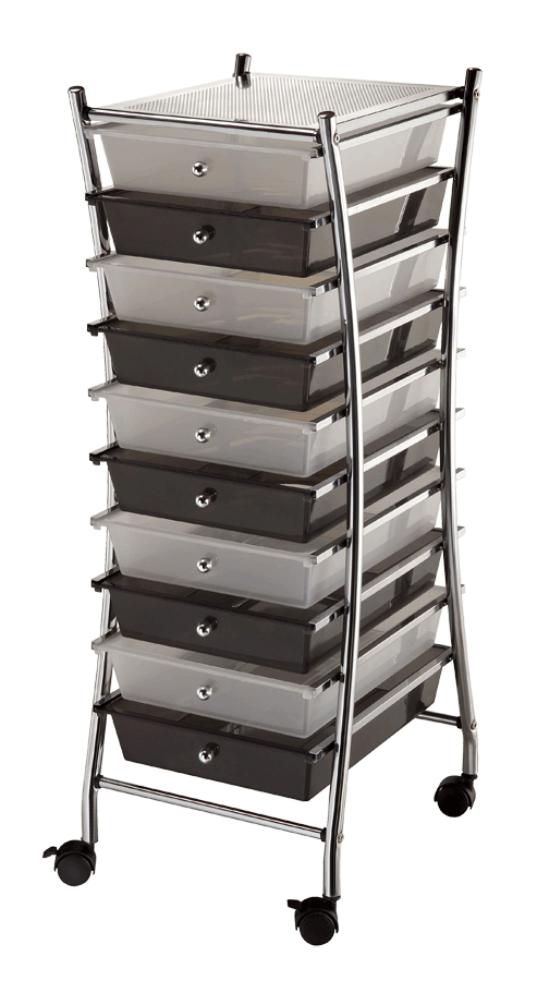 Blue Hills Studio X Frame Storage Cart 10 Drawers Clear
