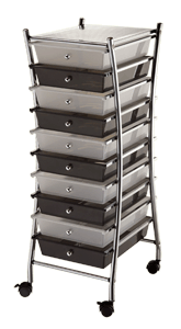 Blue Hills Studio X-Frame Storage Cart, 10 Drawers, Clear/Smoke*