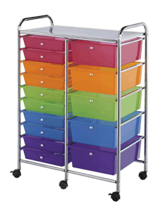 Blue Hills Studio Storage Cart, 15 Drawers, Multi-Colored*