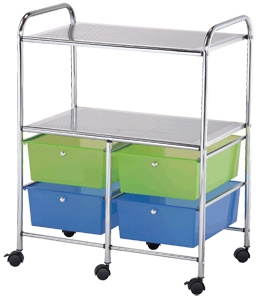 Blue Hills Studio Storage Cart, 4 Drawers and 2 Shelves, Multi-Colored*