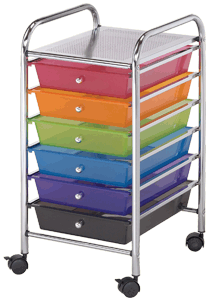 Blue Hills Studio Storage Cart, 6 Drawers, Multi-Colored
