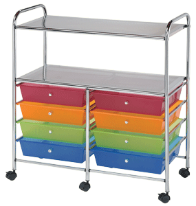 Blue Hills Studio Storage Cart, 8 Drawers (Wide) and 2 Shelves, Multicolor*