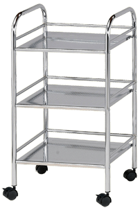 Blue Hills Studio Storage Cart, 3 Shelves, Chrome
