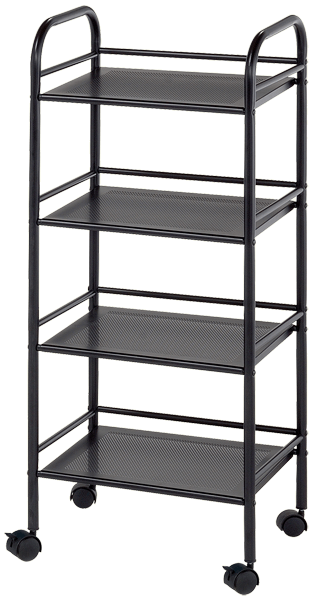 Blue Hills Studio Storage Cart, 4 Shelves, Black