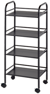 Blue Hills Studio Storage Cart, 4 Shelves, Black
