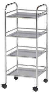 Blue Hills Studio Storage Cart, 4 Shelves, Chrome