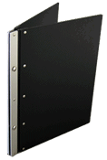 CASE Envy Ice Nine Portfolio Cover - Color Frosted Black Cover, Silver Spine, Black Hinge - Size 8.5 x 11 Portrait