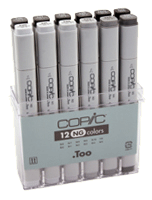 Copic Original Marker 12 Color Set - Color Nuetral Gray