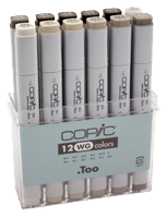 Copic Original Marker 12 Color Set - Color Warm Gray