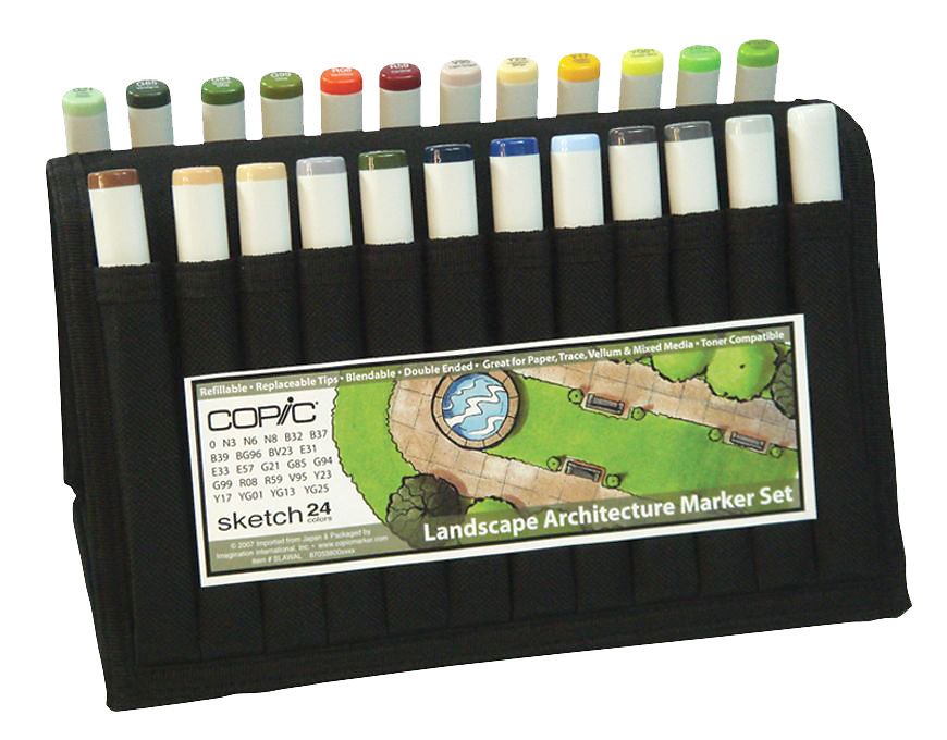 Copic Sketch Marker 24 Color Landscape Architecture Wallet Rex Art Supplies