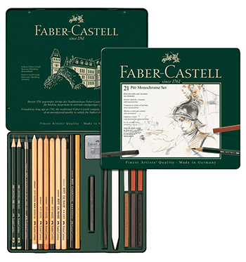Faber-Castell Pitt Monochrome Tin Set of 21
