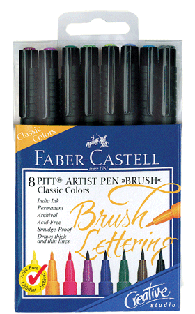 Faber-Castell PITT Artist Brush Lettering Pen Set of 8 Classic Colors