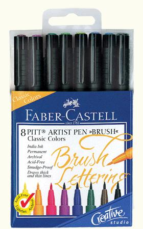 Faber-Castell PITT Artist Brush Lettering Pen Set of 8 Classic Colors