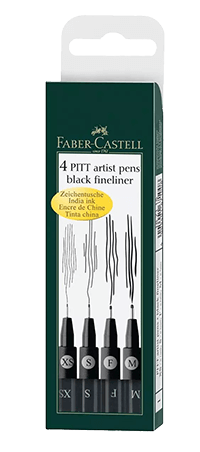 Faber-Castell Pitt Artist Pen Wallet Set of 4 Assorted Nibs - Color Black - Size XS, S, F, M