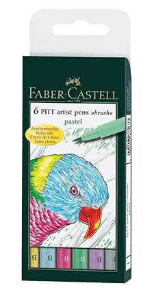 Faber-Castell Pitt Artist Pen Pastel Wallet Set of 6