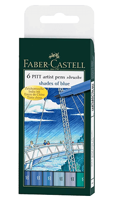 Faber-Castell Pitt Artist Pen Sky Blue Wallet Set of 6