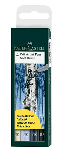 Faber-Castell Pitt Artist Pen Soft Brush Grey Shades Wallet Set of 4