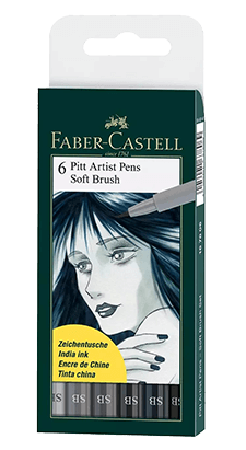Faber-Castell Pitt Artist Pen Soft Brush Grey Shades Wallet Set of 6