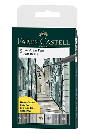 Faber-Castell Pitt Artist Pen Soft Brush Grey Shades Wallet Set of 8