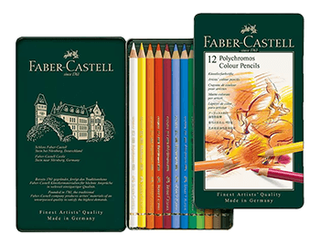 Faber-Castell Polychromos Artists Colored Pencil Metal Tin of 12