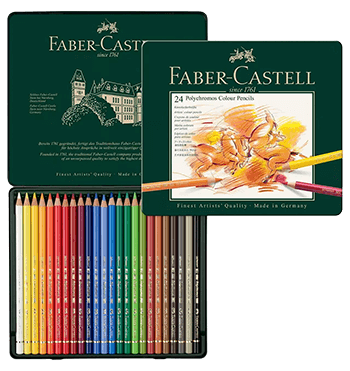 Faber-Castell Polychromos Artists Colored Pencil Metal Tin of 24