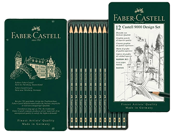 Faber-Castell Castell 9000 Graphite Pencil Design Set-Metal Tin of 12