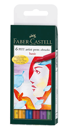 Faber-Castell Pitt Pen Wallet of 6 Basic Color Brush Pens