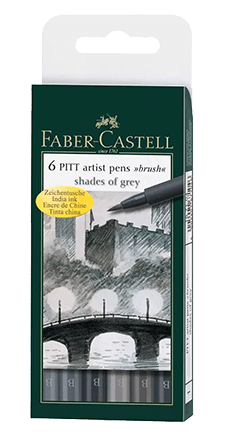 Faber-Castell Pitt Pen Wallet of 6 Shades of Grey Color Brush Pens
