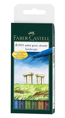 Faber-Castell Pitt Pen Wallet of 6 Landscape Color Brush Pens