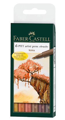 Faber-Castell Pitt Pen Wallet of 6 Terra Color Brush Pens