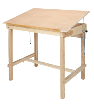 Four Post Drafting Table, Finished Base, Unfinished Top