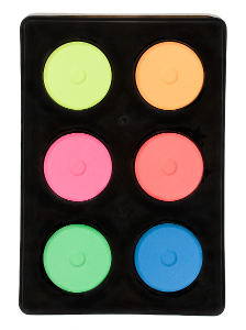Jack Richeson Mini Tempera Cakes (Pack of 6) - Color Assorted Flourescent