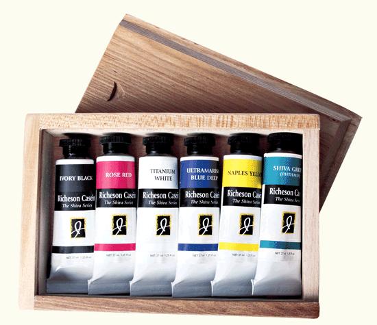 Richeson Casein, The Shiva Series Set of 6 in Wooden Box