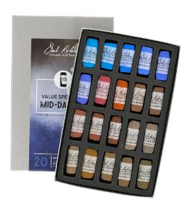 Richeson Soft Handrolled Pastels Set of 20 - Color Value Spectrum Mid-Darks 1