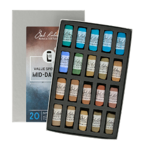 Richeson Soft Handrolled Pastels Set of 20 - Color Value Spectrum Mid-Darks 4