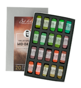 Richeson Soft Handrolled Pastels Set of 20 - Color Value Spectrum Mid-Darks 5