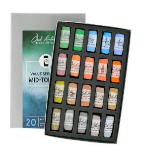 Richeson Soft Handrolled Pastels Set of 20 - Color Value Spectrum Mid-Tones 5