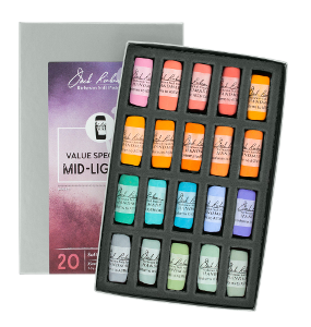 Richeson Soft Handrolled Pastels Set of 20 - Color Value Spectrum Mid-Lights 1