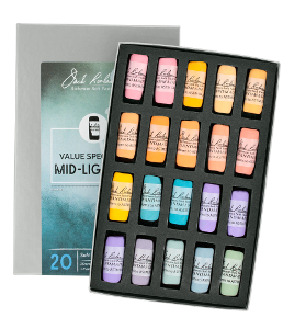 Richeson Soft Handrolled Pastels Set of 20 - Color Value Spectrum Mid-Lights 3